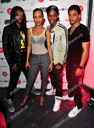 Barry Hill, Amanda Reifer, T Ray Armstrong, Jamar Harding of Coverdrive arrives at the Goji Tinchy Stryder: On Cloud 9 Launch Event for his Goji headphones and audio accessories range available exclusively at Currys and PC World at Paramount, Center Point, on in London