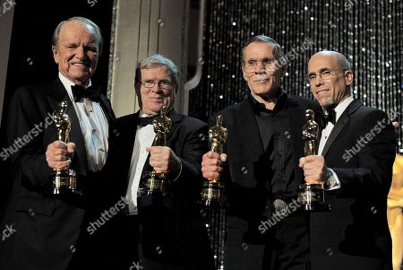 From left, award recipients George Stevens Jr., D.A. Pennebaker, Hal Needham and Jeffrey Katzenberg poses with their Oscar statuettes at the 4th Annual Governors Awards at Hollywood and Highland Center's Ray Dolby Ballroom, in Los Angeles