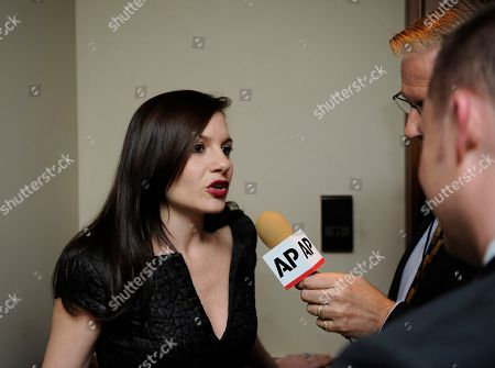 "Songwriter/producer and former ""American Idol"" judge Kara DioGuardi, left, is interviewed at the Grammy's on the Hill Awards at The Hamilton on in Washington"