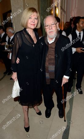 Sir Peter Blake, right, and Lady Chrissy Blake are seen at the Harper's Bazaar Woman of the Year Awards 2012 in association with Estee Lauder, Harrods and Tiffany & Co. at Claridge's Hotel on in London