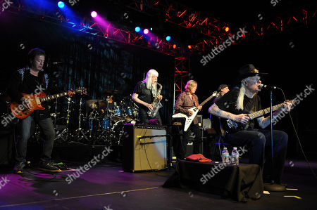 From Left, Rick Derringer,Johnny Winter,Kim Simmons and Johnny Winter perform during Hippiefest at the Seminole Coconut Creek Casino on in Coconut Creek, Fla