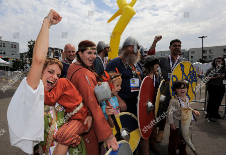 """Fans line up at HISTORY's """"Vikings"""" All Hail Vikings: An Interactive Experience outside the 2013 Comic-Con International Convention on in San Diego. Throughout the weekend, fans competed in longboat races in a custom 50-foot waterway, met with cast members and received a limited edition comic book written by series creator Michael Hirst"""