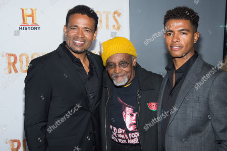 """Stock Photo of Mario Van Peebles, from left, Melvin Van Peebles and Mandela Van Peebles attend History Channel's """"Roots"""" mini-series premiere at Alice Tully Hall, in New York"""