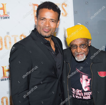 """Stock Image of Mario Van Peebles, left, and Melvin Van Peebles attend History Channel's """"Roots"""" mini-series premiere at Alice Tully Hall, in New York"""