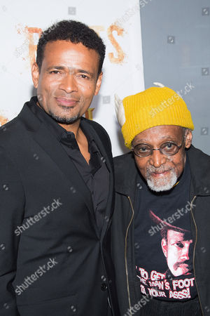 """Mario Van Peebles, left, and Melvin Van Peebles attend History Channel's """"Roots"""" mini-series premiere at Alice Tully Hall, in New York"""