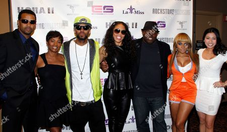 """Actors Trae Ireland, Vanessa Bell Calloway, record producer Drummer Boy, executive producer Monica """"Doll Phace"""" Floyed, director H.M. Coakley, actors Teairra Mari and Crystal Hoang attend Holla II Movie Premiere - NYC on Wed, at AMC Empire 25 in New York. NY"""