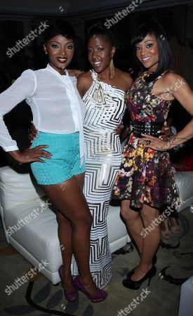 L-R) Ariane Davis, Torica and Mimi Faust seen inside the House of Hype Music Awards at the Beverly Hills Hotel, in Beverly Hills, Calif