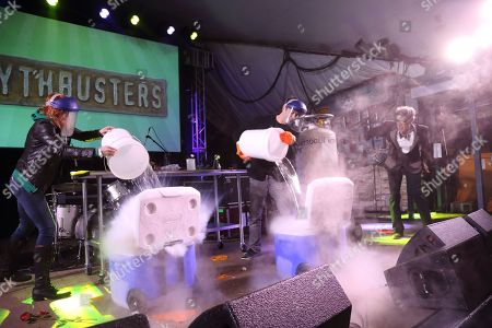 Stock Image of Kari Byron,and Tory Belleci from Mythbusters and Bill Nye The Science Guy (L-R) performs at the I F-ing Love Science Channel event during the 2014 SXSW Music, Film + Interactive Festival at Stubb's BBQ on in Austin Texas