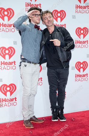 Gary Go (Left) andBenny Benassi arrive at the iHeartRadio Music Festival, Friday Sept. 20th, 2013, at the MGM Grand Garden Arena in Las Vegas