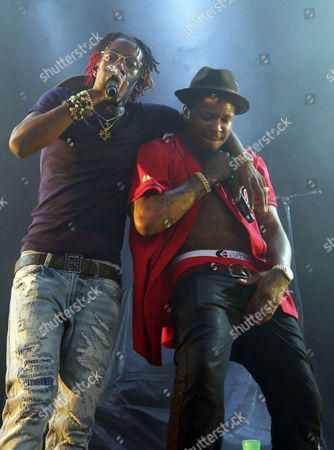 YG and Rich Homie Quan performs as the opener for J. Cole at Aaron's Amphitheatre at Lakewood, in Atlanta