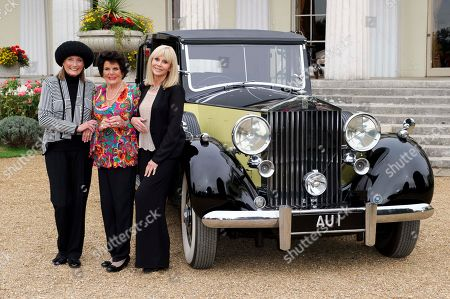 Actresses, from left, Tania Mallet, Eunice Gayson and Britt Ekland pose at a photocall for Bond 50 on in London