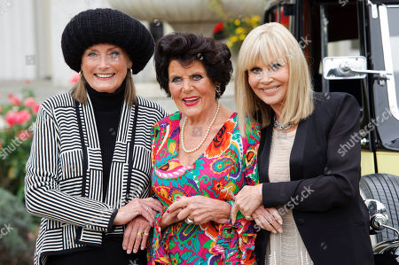 From left, Tania Mallet, Eunice Gayson and Britt Ekland at a photocall for Bond 50 on in London, UK