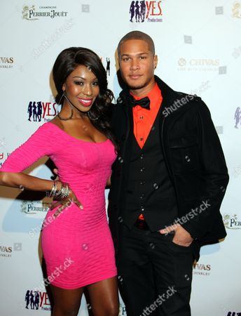 Actors Porscha Coleman and Najee De-Tiege seen at Jared Dudley's Welcome to Los Angeles Scotch and Shave Reception with Pernod Ricard and Y.E.S Productions at Bar Marmont on in West Hollywood, California