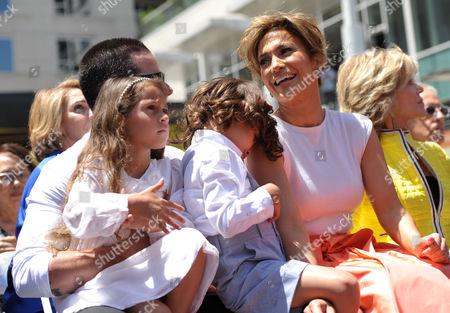"From left, Beau ""Casper"" Smart, Emme Maribel Muniz, Maximilian David Muniz, and Jennifer Lopez appear at her star ceremony on the Hollywood Walk of Fame on in Los Angeles"
