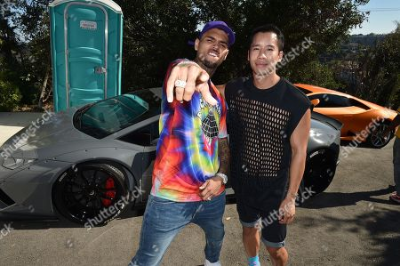 Chris Brown and Jared Eng attend the Just Jared 4th Annual Summer Bash presented by Uno, in Beverly Hills, Calif
