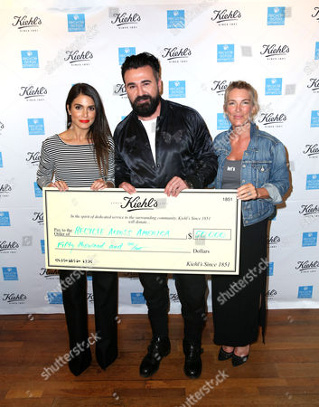 Nikki Reed, from left, President of Kiehl's U.S. Chris Salgardo, and Founder and Executive Director of Recycle Across America Mitch Hedlund attend the Kiehl's Earth Day Celebration with Nikki Reed to Benefit Recycle Across America at Kiehl's Since 1851 on in Santa Monica, Calif