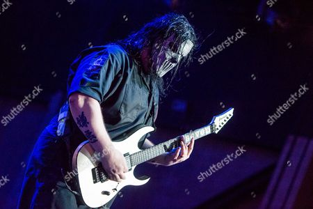 Mick Thomson of Slipknot performs during Day 2 of the 2015 Knotfest USA at San Manuel Amphitheater on in San Bernardino, Calif