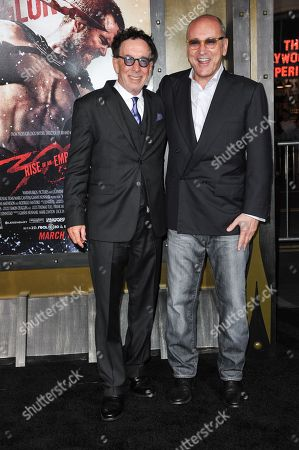 """Producers Mark Canton, left, and Gianni Nunnari arrive at the LA Premiere of """"300: Rise of an Empire"""" - Arrivals on in Los Angeles"""