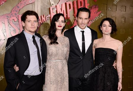 """From left to right, actor Jack O'Connell, actress Eva Green, actor Callan Mulvey, and actress Lena Headey attend the premiere for the feature film """"300: Rise of an Empire"""" at TCL Chinese Theatre on in Los Angeles"""