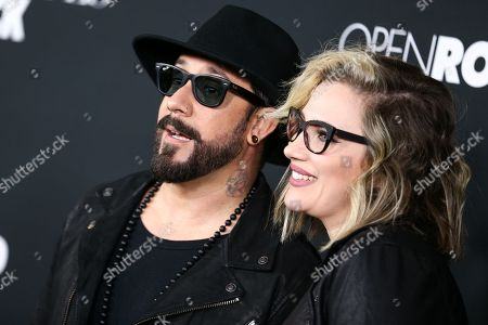 "Stock Picture of A.J. McLean, left, and Rochelle Deanna Karidis attend the LA Premiere of ""50 Shades of Black"" held at Regal L.A. Live, in Los Angeles"