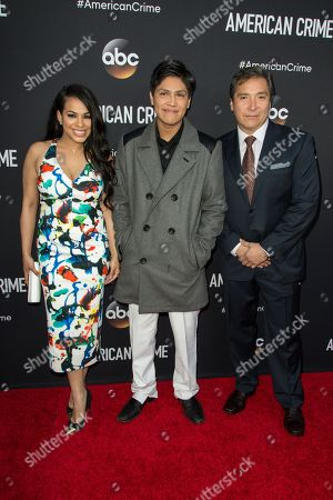 """Stock Image of From left, Gleendilys Inoa, Johnny Ortiz and Benito Martinez attend the LA Premiere of """"American Crime"""" on in Los Angeles"""
