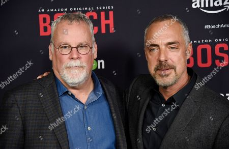 """Titus Welliver, right, a cast member in """"Bosch,"""" poses with creator and co-writer Michael Connelly at the season two premiere of the Amazon original series at the Pacific Design Center, in West Hollywood, Calif"""