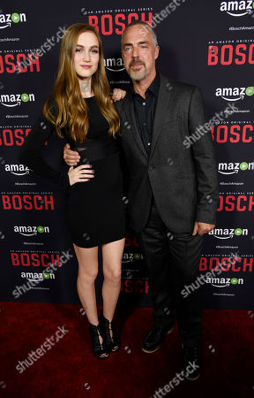"""Madison Lintz, left, and Titus Welliver, cast members in """"Bosch,"""" pose together at the season two premiere of the Amazon original series at the Pacific Design Center, in West Hollywood, Calif"""