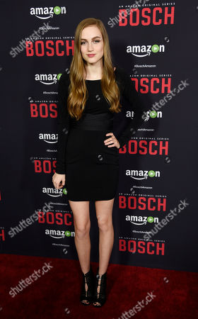"""Madison Lintz, a cast member in """"Bosch,"""" poses at the season two premiere of the Amazon original series at the Pacific Design Center, in West Hollywood, Calif"""
