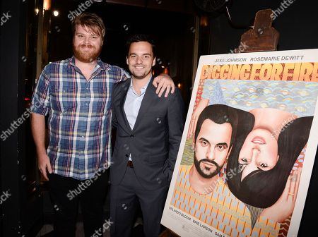 """Actor Steve Berg, left, and actor Jake Johnson attend the after party for the Los Angeles premiere of the feature film """"Digging For Fire"""" in Los Angeles on"""