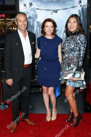 "CEO Walden Media Frank Smith, from left, Producer Lauren Selig and VP of Walden Media Naia Cucukov attend the LA Premiere of ""Everest"" held at the TCL Chinese Theatre IMAX, in Los Angeles"