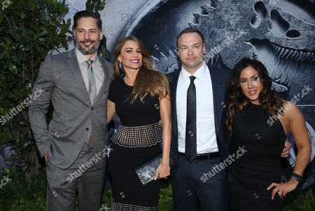 """Joe Manganiello, from left, Sofia Vergara, executive producer Thomas Tull and Alba Tull arrive at the Los Angeles premiere of """"Jurassic World"""" at the Dolby Theatre on"""