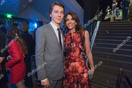 "Paul Dano, left, and Claire Rudnick Polstein attend the LA Premiere Of ""Love & Mercy"" After Party at the Samuel Goldwyn Theater, in Beverly Hills, Calif"