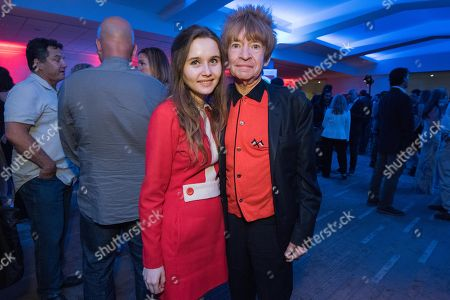 """Candice Bowling, left and Rodney Bingenheimer attend the LA Premiere Of """"Love & Mercy"""" After Party at the Samuel Goldwyn Theater, in Beverly Hills, Calif"""