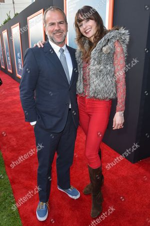 """Jeremy Dawson, left, and Sara Melson arrive at LA Premiere Of """"Me And Earl and The Dying Girl"""" Red Carpet at Harmony Gold Theater, in Los Angeles"""