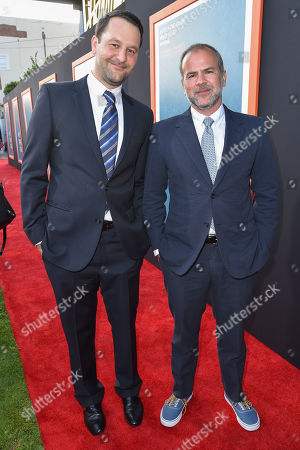 """Dan Fogelman, left, and Jeremy Dawson arrive at LA Premiere Of """"Me And Earl and The Dying Girl"""" Red Carpet at Harmony Gold Theater, in Los Angeles"""