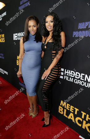 "Stock Photo of Amina Buddafly and Erica Mena are seen at ""Meet the Blacks"" Premiere at the ArcLight Hollywood, in Los Angeles"