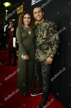 "Paige Hurd and Quincy Brown are seen at ""Meet the Blacks"" Premiere at the ArcLight Hollywood, in Los Angeles"