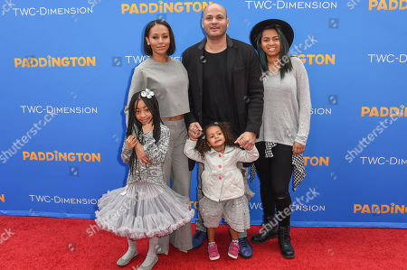 Melanie Brown, left and Stephen Belafonte with Angel Iris Murphy Brown, Madison Brown Belafonte, Phoenix Chi Gulzar arrive at the Los Angeles Premiere of Paddington at the TCL Chinese Theatre, in Los Angeles
