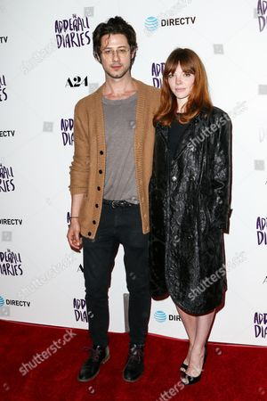 """Hale Apperman, left, and Nicole LaLiberte attend the LA Premiere of """"The Adderall Diaries"""" held at ArcLight Hollywood, in Los Angeles"""