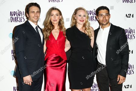 "Stock Image of James Franco, from left, Amber Heard, Pamela Romanowsky and Wilmer Valderama attend the LA Premiere of ""The Adderall Diaries"" held at ArcLight Hollywood, in Los Angeles"
