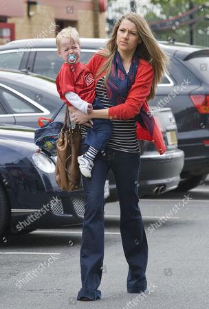 Hayley Grice, wife of Darren Fletcher, and son Jack.