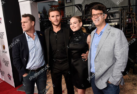 """Producer Marty Bowen, from left, Scott Eastwood, Britt Roberston and producer Wyck Godfrey arrive at the premiere of """"The Longest Ride"""" at the TCL Chinese Theatre, in Los Angeles"""