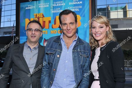 """Director Peter Lepeniotis (L) and actors Will Arnett and Katherine Heigl are seen at the premiere of the animated film """"The Nut Job"""" on in Los Angeles, California"""