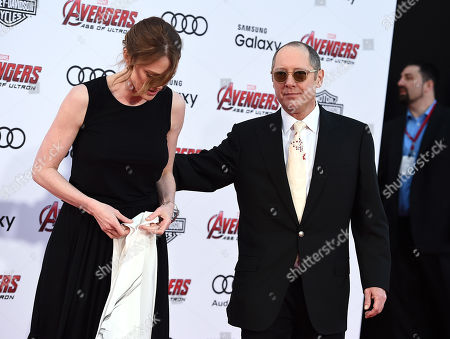 "Leslie Stefanson, left, and James Spader arrive at the Los Angeles premiere of ""Avengers: Age Of Ultron"" at the Dolby Theatre on"