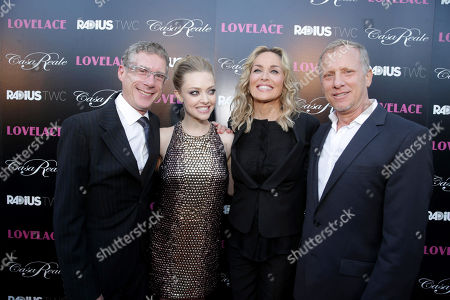 "Director Jeffrey Friedman, Amanda Seyfried, Sharon Stone and director Rob Epstein seen at the premiere of ""Lovelace"" held at the Egyptian Theatre on in Los Angeles"