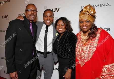 """Director Sheldon Candis (second from left) and family attend the LA premiere of """"Luv"""" at the Pacific Design Center, in West Hollywood, California"""