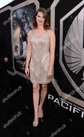 """Actress Heather Doerksen arrives on the red carpet at the LA premiere of """"Pacific Rim"""" at the Dolby Theater on in Los Angeles"""