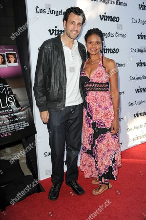 """James LaRosa, left, and Kimberly Elise arrive at the LA premiere of """"Some Girl(s)"""" at the Laemmle Noho Theater on in North Hollywood, Calif"""
