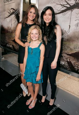 """From left, Shanley Caswell, Kyla Deaver and Hayley McFarland arrive at the LA premiere of """"The Conjuring"""" at the Cinerama Dome, in Los Angeles"""