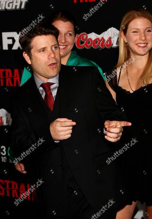 """Stock Picture of Christine Harrell, actor Sean Astin and Alexandra Astin seen at LA Premiere Screening of """"The Strain"""" - Arrivals at DGA Theater, in Los Angeles, California"""